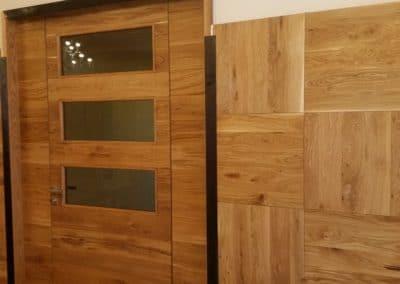 ламелна врата по проект и облицовка на квадрати, рустик, прозрачно масло