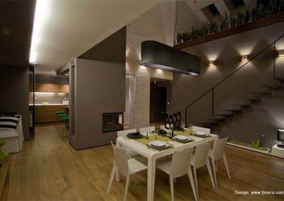 Дюшеме дъб 120 х 20 х 600 - 2000 мм, рачество Рустик, омаслен цвят Дъб, ваканционен апартамент в гр. Банско по проект на Фимера Дизайн