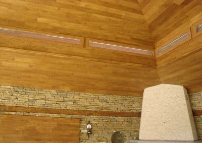 """Дъбова обшивка по таван с ширина 120 мм, качество Натюр, омаслена в цвят """"Тик"""""""