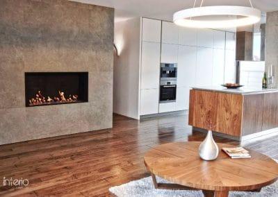 Дъбово дюшеме 150 х 20 х 600 - 2000 мм, качество Рустик, омаслено Ебонит - частен дом по проект на Interio