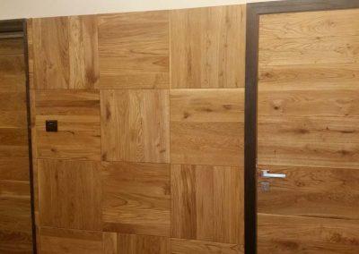 Врата дъб масив с ламели 180 мм омаслена цвят Прозрачно и дъбова ламперия на квадрати
