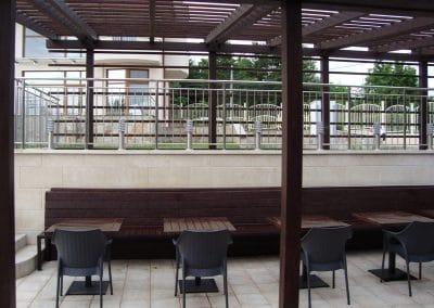 Пергола дъб, маси и пейки, омаслени в цвят Палисандър