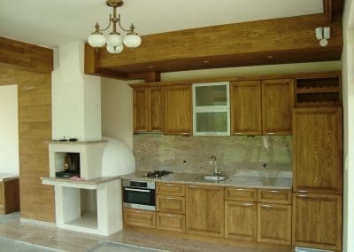 "Кухня масив дъб и облицовка трегер и стена, омаслени цвят ""Тик"""