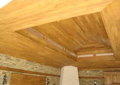 Дъбова обшивка по таван с ширина 120 мм, качество Натюр, омаслена в цвят Тик