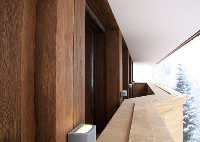 Дъбова обшивка колони по проект,  качество Рустик, омаслени цвят Орех