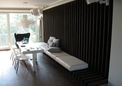 """Облицовка стена по проект, материал дъб, качество Рустик, омаслена в цвят """"Ебонит"""""""