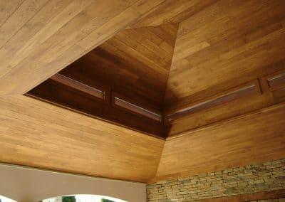 Дъбова обшивка по таван и стени с ширина 120 мм, качество Натюр, омаслена в цвят Тик
