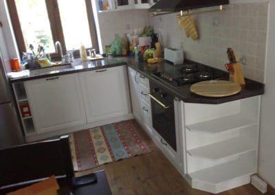 Дъбова кухня, лакиран, бяла боя и дъбово дюшеме 150 мм, качество Рустик, омаслено в цвят Орех