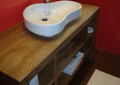 Дъбов шкаф за баня, фабрично омаслен в цвят Шварц