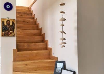 Дъбови стъпала с чела сглобени на герунг омаслени в цвят Натурал