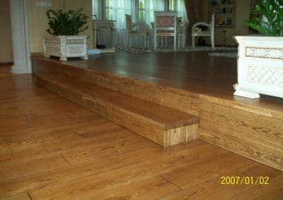 Solid oak flooring 150 mm width, Rustic quality, brushed, color Brown patina