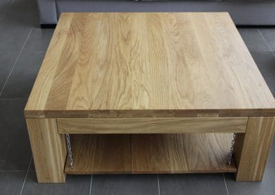 Oak coffee table 1000 х 1000 x 350 mm, oiled transparent