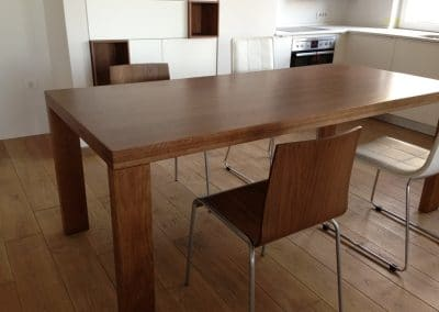 Solid oak flooring 150 mm width, Rustic quality, oiled, Graphite and oak table 1600 x 900 mm, varnished, color Brown Walnut